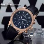 JAEGER-018-5 新款男士六針設計土豪金黑底多功能跑秒礦物質強化玻璃石英腕錶