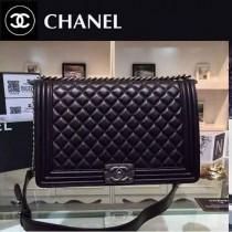 Chanel A67087-9 人氣熱銷leboy系列大號黑色原版羊皮銀扣單肩斜挎包