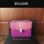 Bvlgari-0013 人氣熱銷寶格麗玫紅色原版魔鬼魚皮正方形單肩斜背包