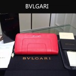 Bvlgari-005-5 潮流時尚新款女士紅色原版皮長款拉鏈錢包