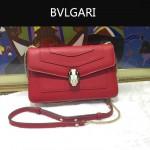 Bvlgari-006-3 名媛必備單品女士紅色原版皮單肩斜挎包