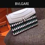 Bvlgari-0015-1 名媛必備寶格麗長方形白色原版皮流蘇款復古單肩斜背包