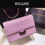 Bvlgari-004-4 專櫃最新款Tubogas粉色原版小牛皮大號手提單肩包