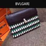 Bvlgari-0015 名媛必備寶格麗長方形黑色原版皮流蘇款復古單肩斜背包