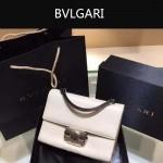 Bvlgari-001 專櫃最新款淑女風Tubogas白色原版小牛皮小號手提單肩包