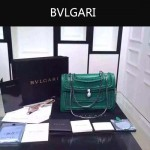 Bvlgari-002 時尚復古新款綠色原版小牛皮手工編織蛇頭單肩斜挎包