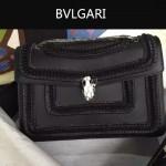 Bvlgari-002-4 時尚復古新款黑色原版小牛皮手工編織蛇頭單肩斜挎包