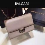 Bvlgari-004-3 專櫃最新款Tubogas卡其色原版小牛皮大號手提單肩包