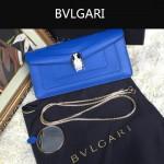 Bvlgari-0012-1 人氣熱銷寶格麗藍色原版皮橫款手拿單肩斜背包