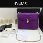 Bvlgari-007-3 歐美百搭新款紫色原版皮單層單肩斜挎包