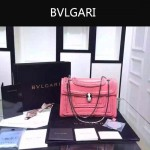 Bvlgari-002-3 時尚復古新款粉色原版小牛皮手工編織蛇頭單肩斜挎包