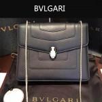 Bvlgari-007-7 歐美百搭新款黑色原版皮單層單肩斜挎包