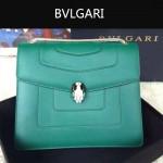Bvlgari-003-2 人氣熱銷單品女士綠色原版小牛皮蛇頭單肩斜挎包