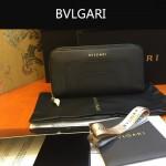 Bvlgari-005-2 潮流時尚新款女士黑色原版皮長款拉鏈錢包
