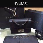 Bvlgari-001-3 專櫃最新款淑女風Tubogas黑色原版小牛皮小號手提單肩包