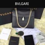 Bvlgari-003-5 人氣熱銷單品女士黑色原版小牛皮蛇頭單肩斜挎包