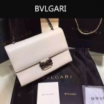 Bvlgari-004 專櫃最新款Tubogas白色原版小牛皮大號手提單肩包