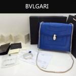 Bvlgari-007-9 歐美百搭新款藍色原版皮單層單肩斜挎包