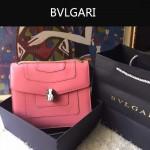 Bvlgari-003-6 人氣熱銷單品女士粉色原版小牛皮蛇頭單肩斜挎包