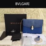 Bvlgari-0013-4 人氣熱銷寶格麗藍色原版魔鬼魚皮正方形單肩斜背包