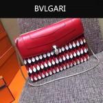 Bvlgari-0015-2 名媛必備寶格麗長方形紅色原版皮流蘇款復古單肩斜背包