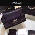 Bvlgari-004-2 專櫃最新款Tubogas黑色原版小牛皮大號手提單肩包