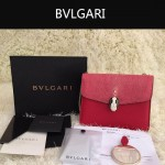 Bvlgari-0013-3 人氣熱銷寶格麗紅色原版魔鬼魚皮正方形單肩斜背包