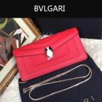 Bvlgari-0012-5 人氣熱銷寶格麗粉色原版皮橫款手拿單肩斜背包
