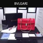 Bvlgari-002-2 時尚復古新款紅色原版小牛皮手工編織蛇頭單肩斜挎包