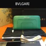 Bvlgari-005-3 潮流時尚新款女士綠色原版皮長款拉鏈錢包