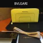 Bvlgari-005 潮流時尚新款女士黃色原版皮長款拉鏈錢包