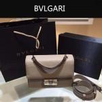Bvlgari-001-2 專櫃最新款淑女風Tubogas卡其色原版小牛皮小號手提單肩包