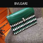 Bvlgari-0015-3 名媛必備寶格麗長方形綠色原版皮流蘇款復古單肩斜背包