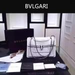 Bvlgari-002-5 時尚復古新款白色原版小牛皮手工編織蛇頭單肩斜挎包
