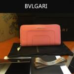 Bvlgari-005-4 潮流時尚新款女士粉色原版皮長款拉鏈錢包