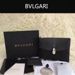 Bvlgari-0013-2 人氣熱銷寶格麗黑色原版魔鬼魚皮正方形單肩斜背包