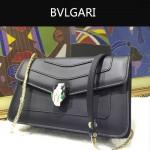 Bvlgari-006-4 名媛必備單品女士黑色原版皮單肩斜挎包
