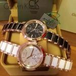 CK-018-2 卡文克萊經典黑色鋼間陶瓷進口石英腕錶