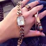 CK-04-3 歐美時尚百搭女士土豪金白底手鏈款石英腕錶