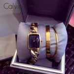 CK-04 歐美時尚百搭女士土豪金黑底手鏈款石英腕錶