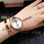 CK-06-3 明星angelbaby楊穎同款玫瑰金白底手鐲款進口石英腕錶