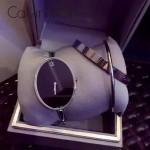 CK-05-2 潮流百搭個性閃亮銀黑底橢圓形手鐲款石英腕錶