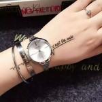 CK-06-2 明星angelbaby楊穎同款閃亮銀白底手鐲款進口石英腕錶