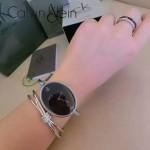 CK-07-7 歐美流行單品閃亮銀黑底手鐲款進口石英腕錶