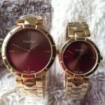 CK-03-6 人氣熱銷單品土豪金系列褐色情侶款進口石英腕錶