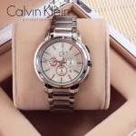 CK-09-1 人氣熱銷卡文克萊三眼系列銀盤帶秒表男士石英腕表