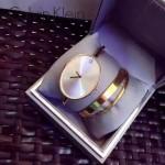 CK-05-5 潮流百搭個性土豪金白底橢圓形手鐲款石英腕錶