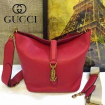 Gucci 380579-1 秋冬新款Jackie sof系列紅色全皮水桶包