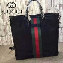 GUCCI 387105 新款商務男士克色布配經典紅綠織帶手提包雙肩包