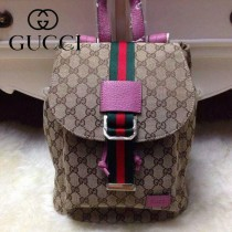 Gucci 368589 秋冬新款杏布配玫紅色皮女士雙肩包